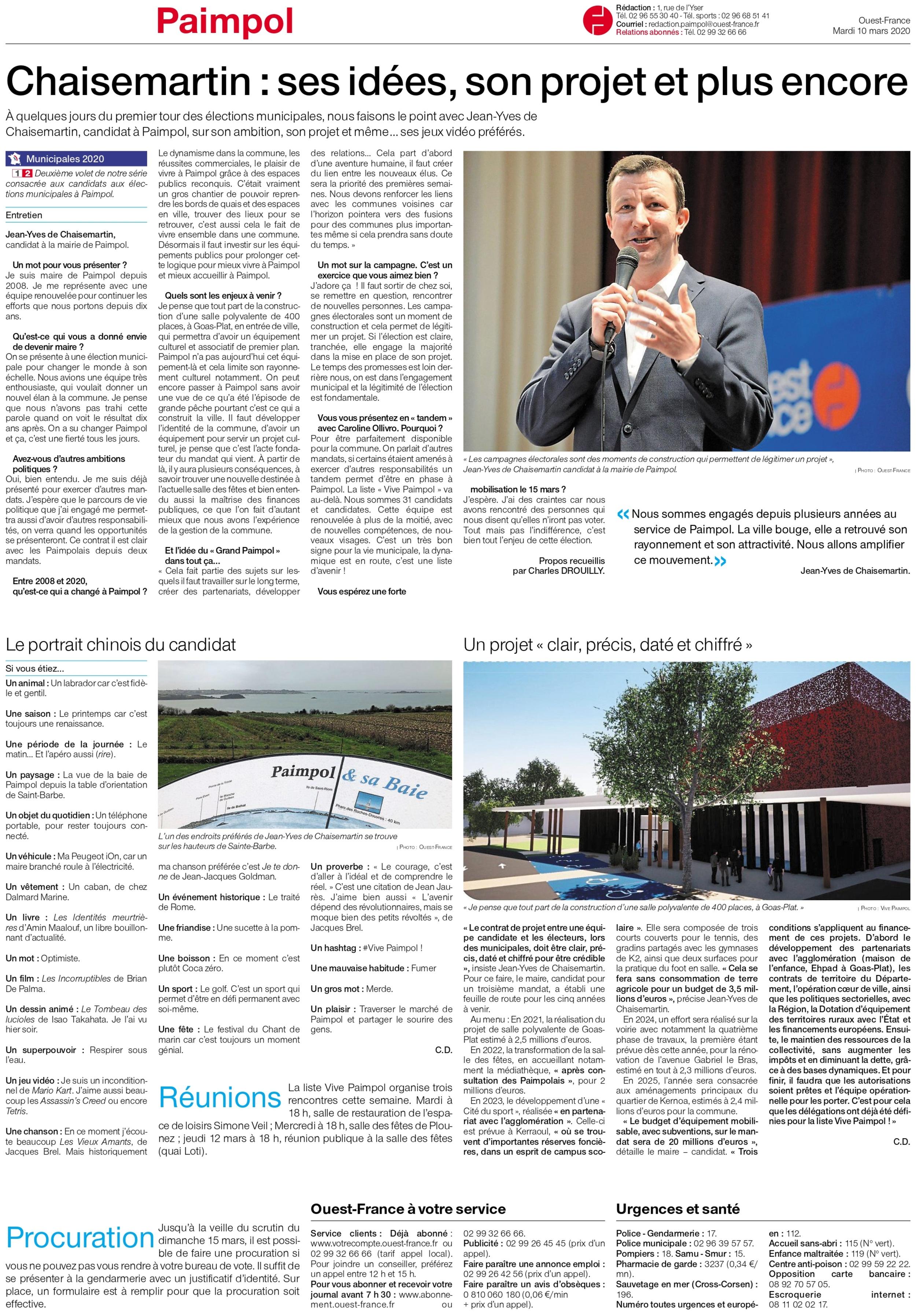 Chaisemartin : ses idées, son projet et plus encore