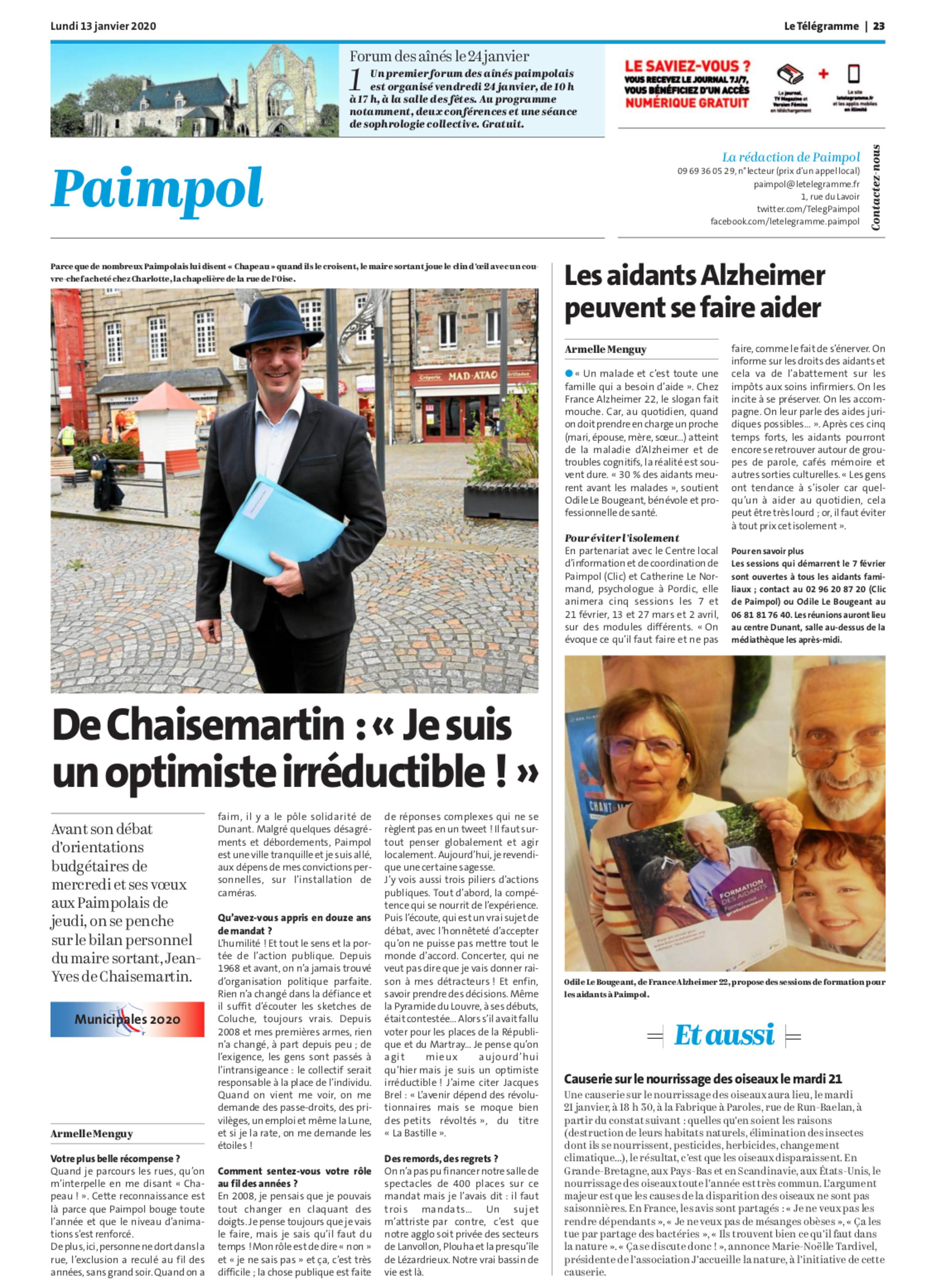 """De Chaisemartin : """"Je suis un optimiste irréductible"""""""