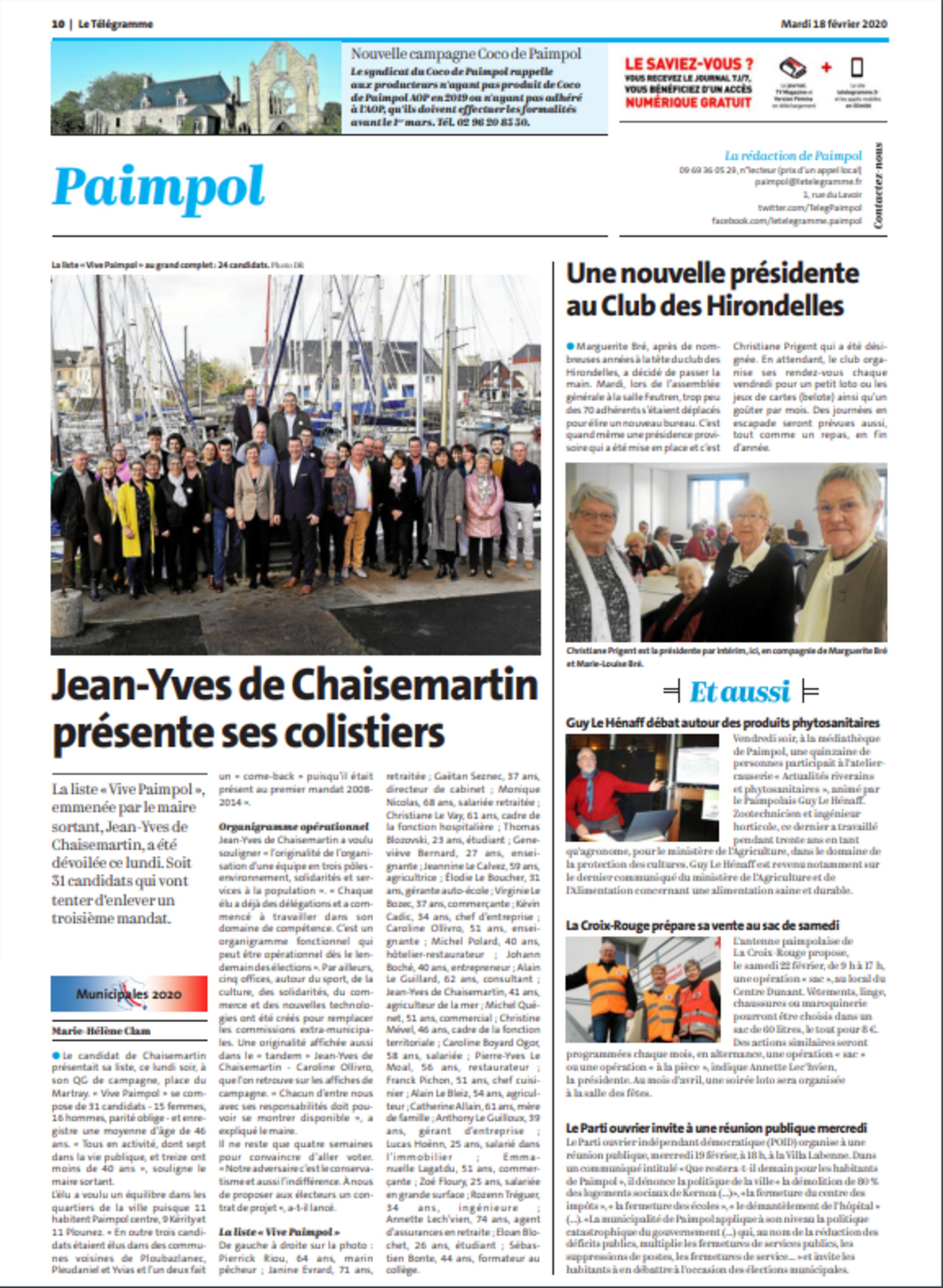 Jean-Yves de Chaisemartin présente ses colistiers