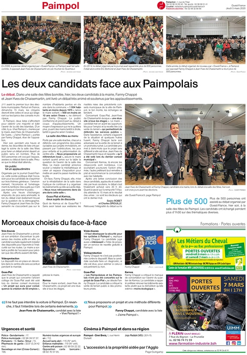 Les deux candidats face aux Paimpolais