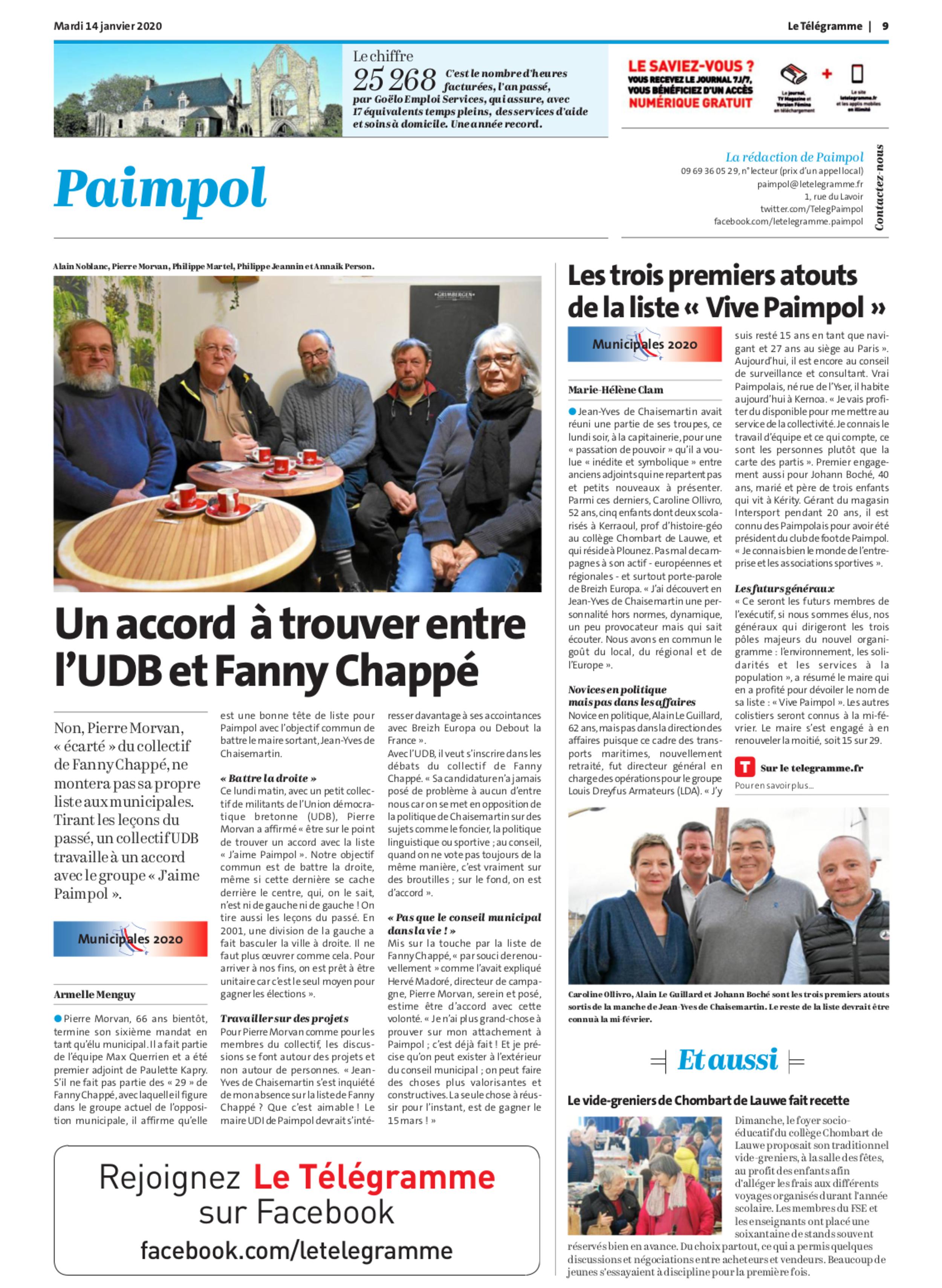 """Les trois premiers atouts de la liste """"Vive Paimpol"""""""