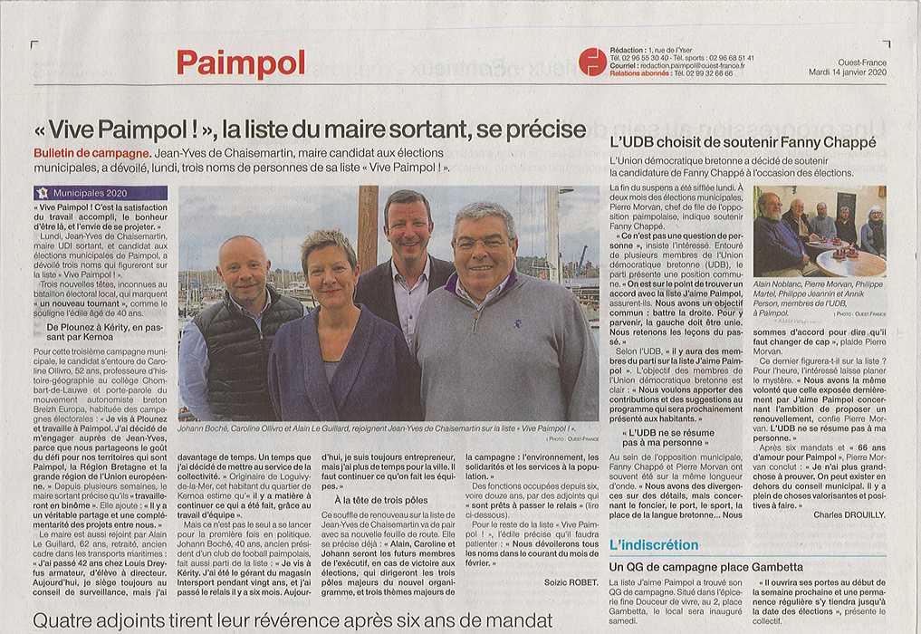 """""""Vive Paimpol !"""", la liste du maire sortant, se précise 0"""